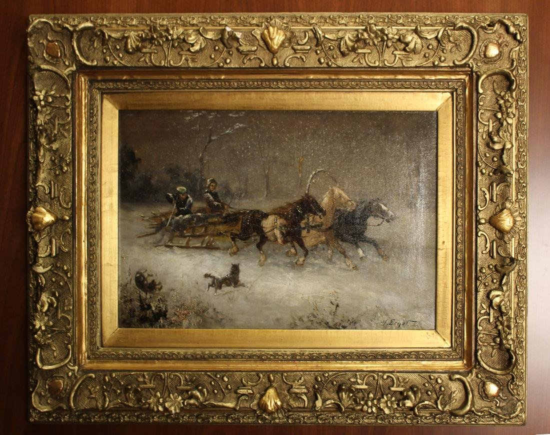 H. Erzol. Oil. Horse Drawn Sled with Figures. Signed