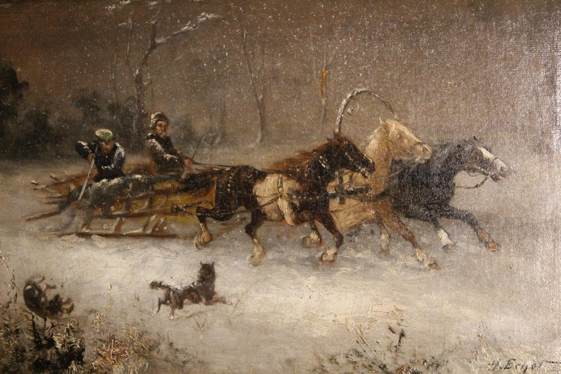 H. Erzol. Oil. Horse Drawn Sled with Figures. Signed - 2