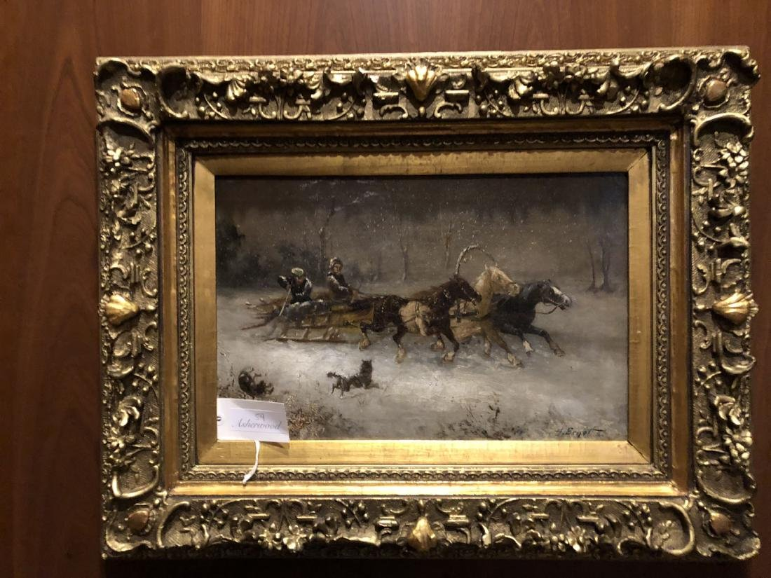 H. Erzol. Oil. Horse Drawn Sled with Figures. Signed - 6