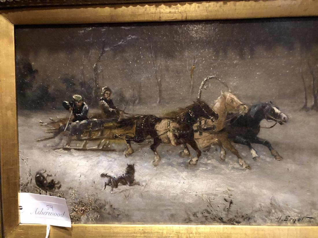 H. Erzol. Oil. Horse Drawn Sled with Figures. Signed - 7