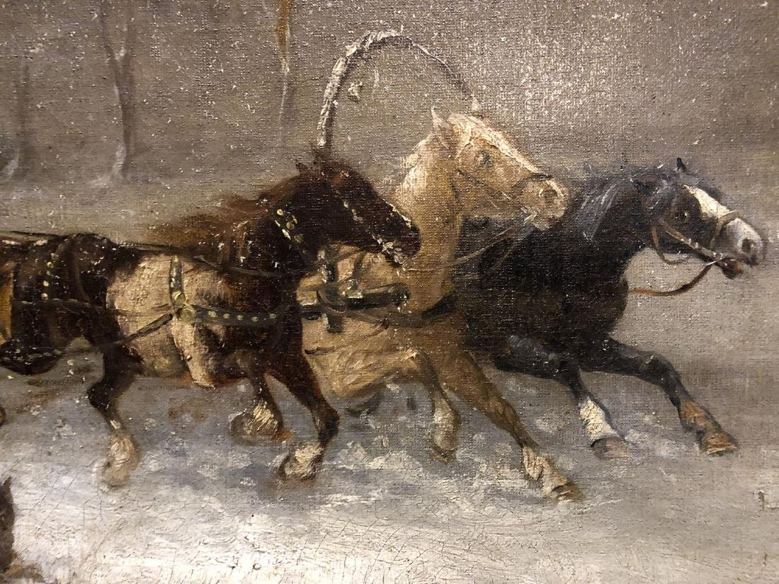 H. Erzol. Oil. Horse Drawn Sled with Figures. Signed - 8