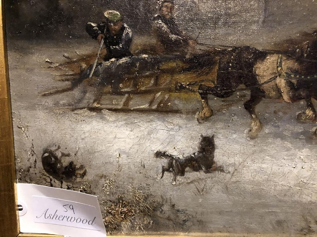 H. Erzol. Oil. Horse Drawn Sled with Figures. Signed - 9