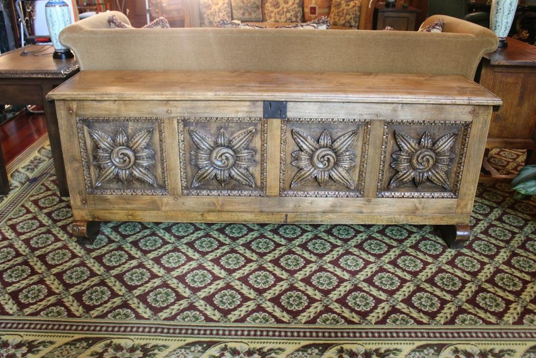 Spanish Style Carved Wood Trunk - 2