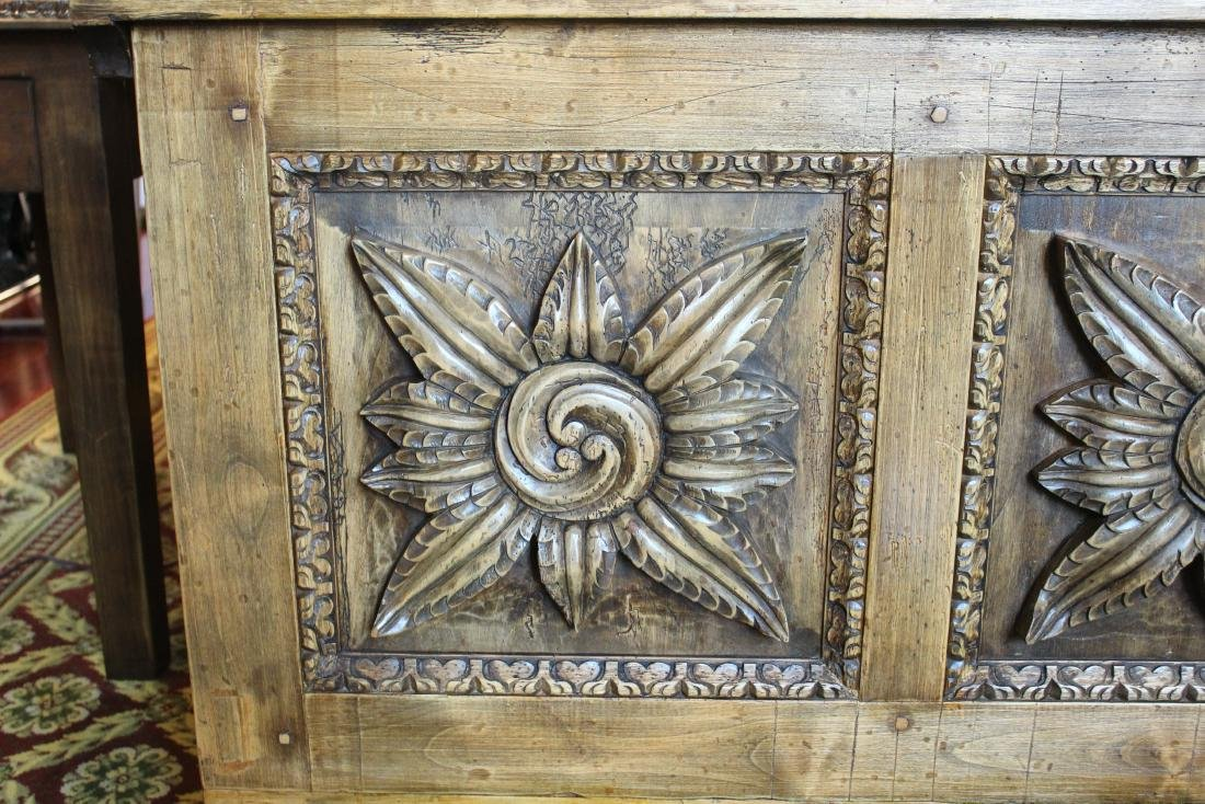 Spanish Style Carved Wood Trunk - 3