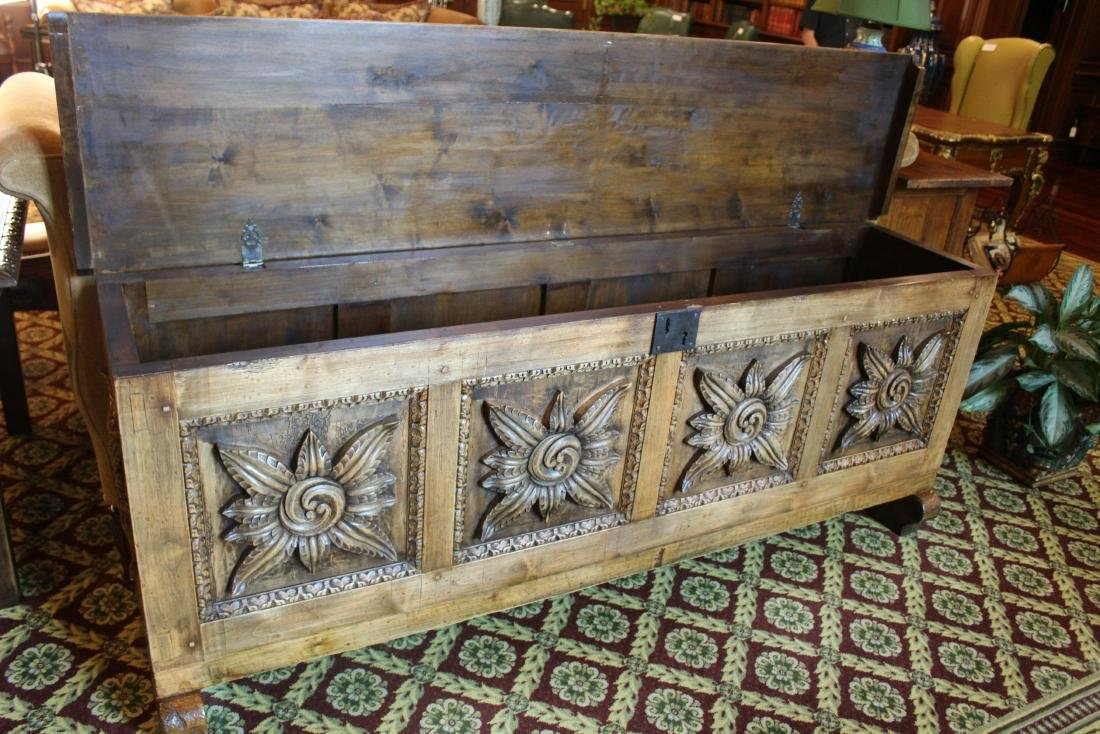 Spanish Style Carved Wood Trunk - 4