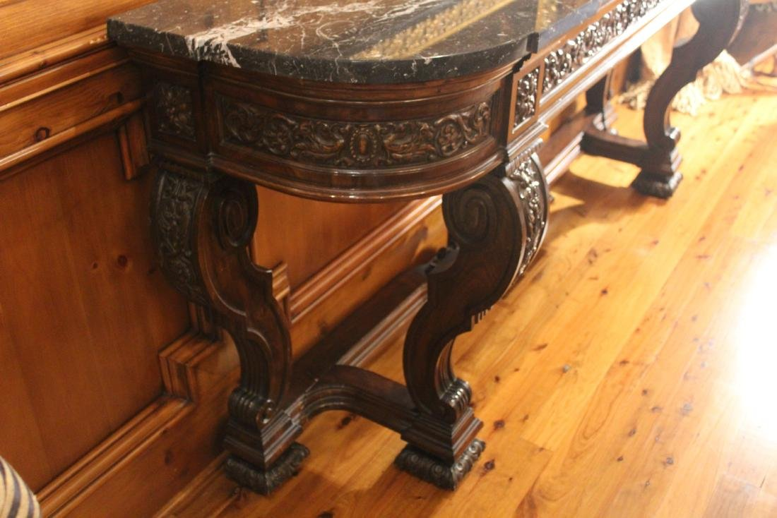 Victorian Style Marble Topped Console Table - 5