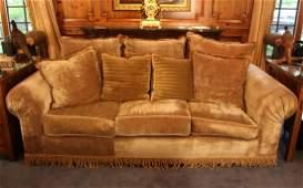 Beige Velvet Decorator Sofa