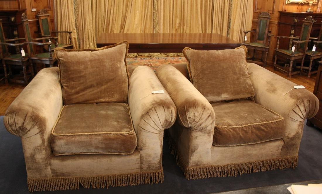Beige Velvet Armchairs (2)