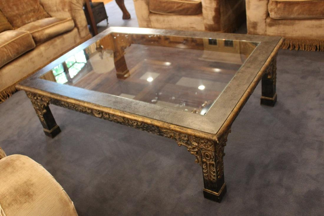 Floral Carved Giltwood Coffee Table - 2