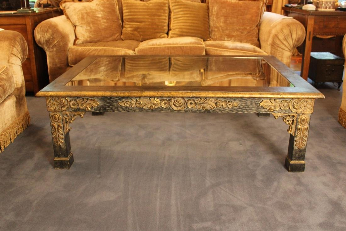 Floral Carved Giltwood Coffee Table - 3