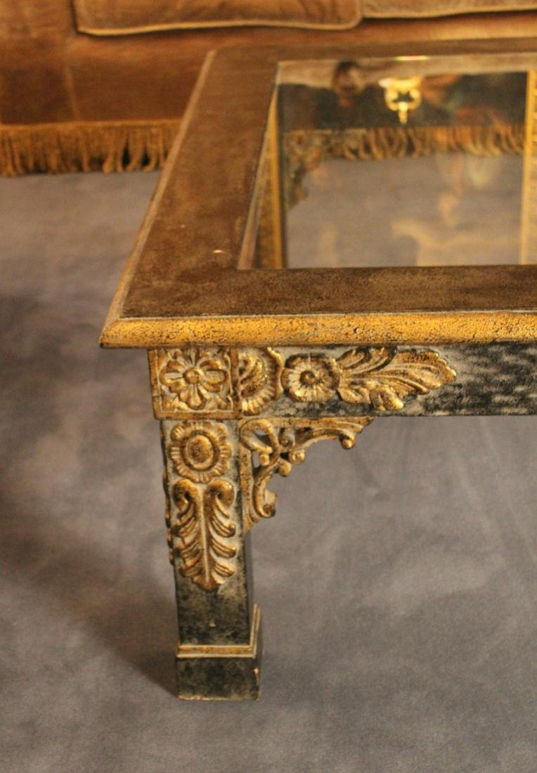 Floral Carved Giltwood Coffee Table - 4
