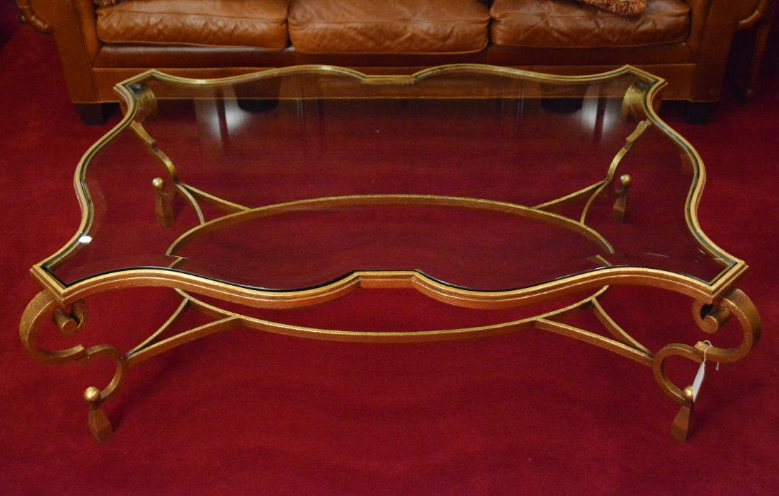 Decorator Glass and Gilded Iron Coffee Table