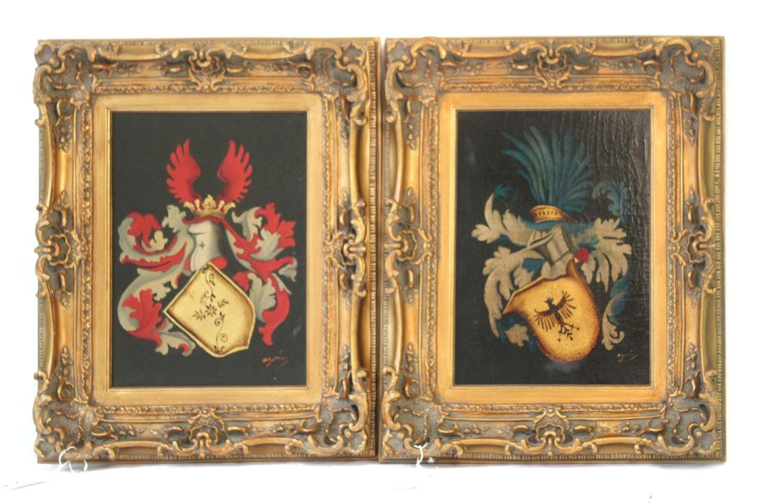 Arymin, Pair of Oils. Coats of Arms.