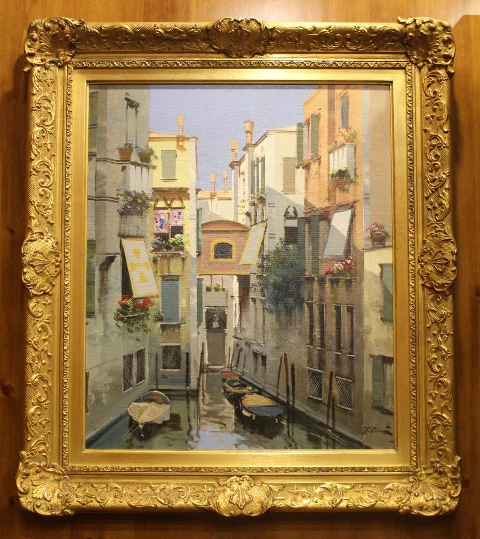 R. Raimondo, Oil. Venetian Scene.