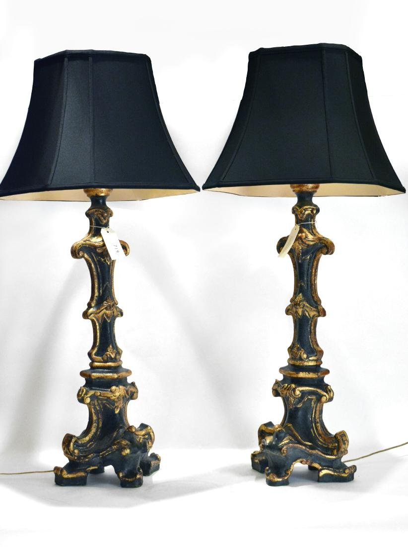 Pair of Tall Gothic Style Sideboard Lamps