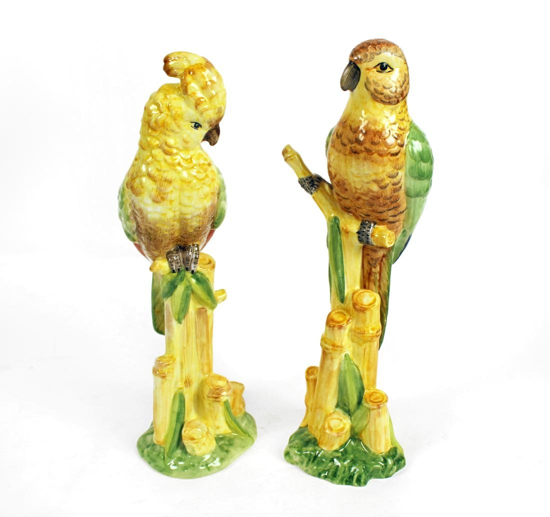 Italian Ceramic Parrots, Veggie Jars and Candlesticks - 4