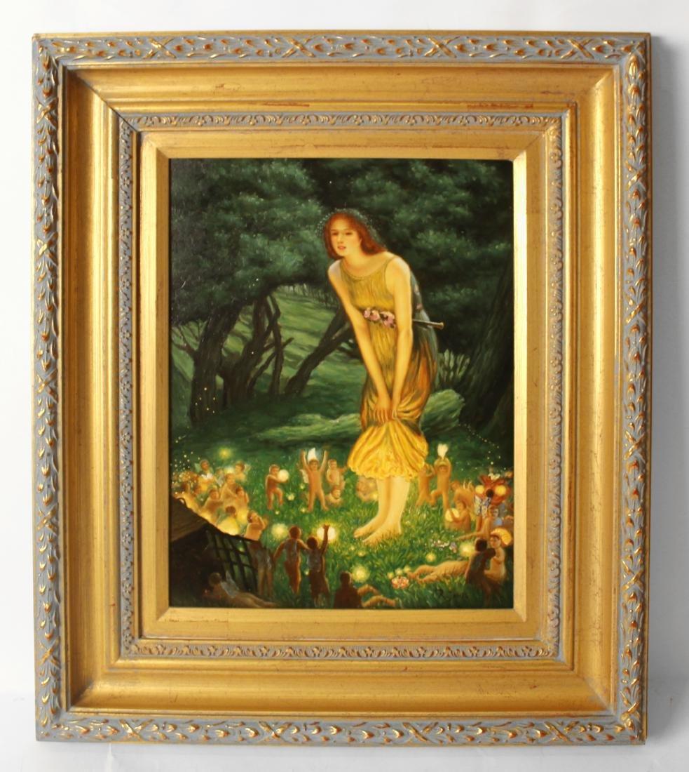 R. James, Oil. Classical Scene.