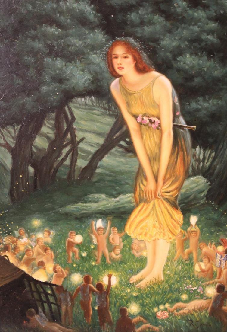 R. James, Oil. Classical Scene. - 2