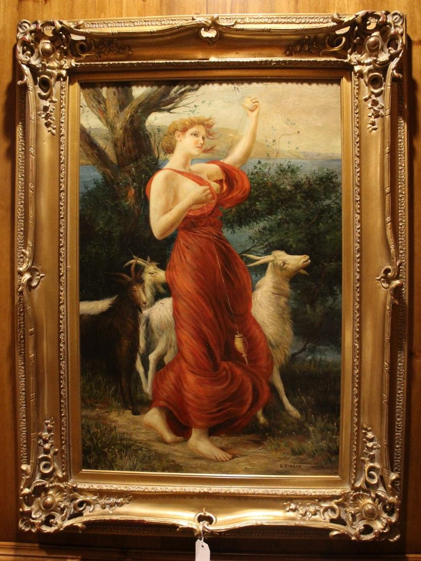 L. Curran, Oil. Woman with Goats
