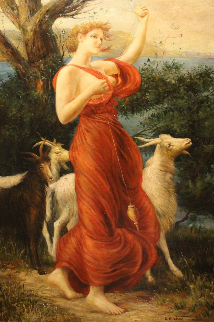 L. Curran, Oil. Woman with Goats - 2
