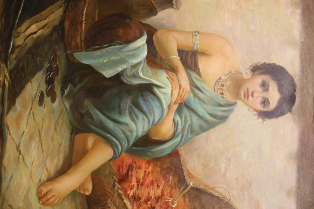 Classical Oil. Girl in Turquoise - 2