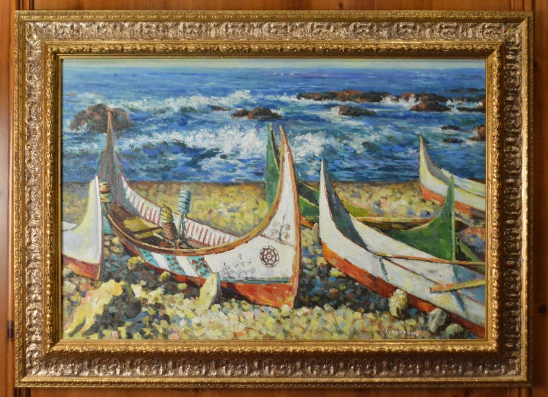 P. Setton, Oil. Boats at the Waterfront