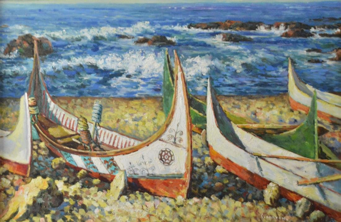 P. Setton, Oil. Boats at the Waterfront - 2