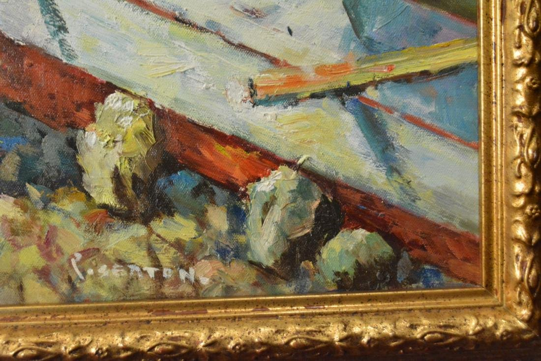 P. Setton, Oil. Boats at the Waterfront - 4