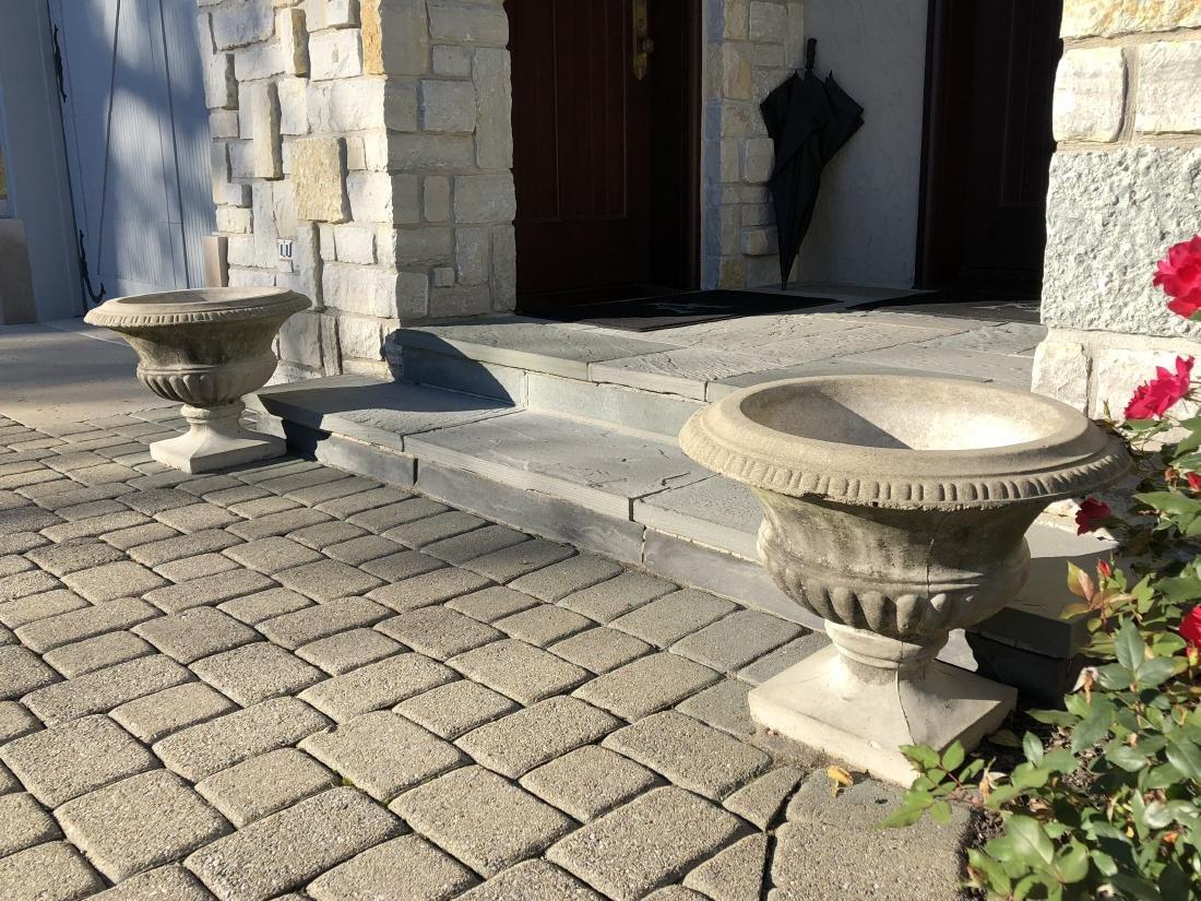 Pair of Round Stone Urn Planters (2)