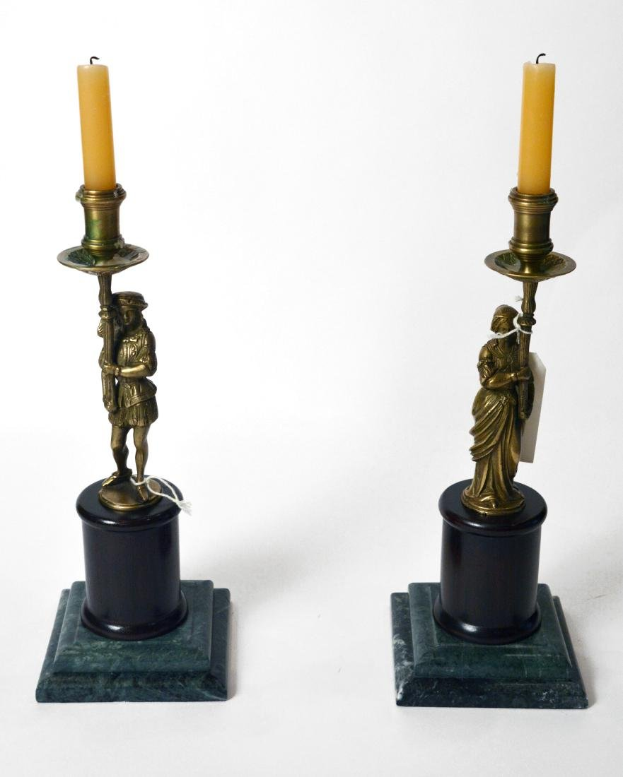 Pair of Figural Bronze Classical Candlesticks