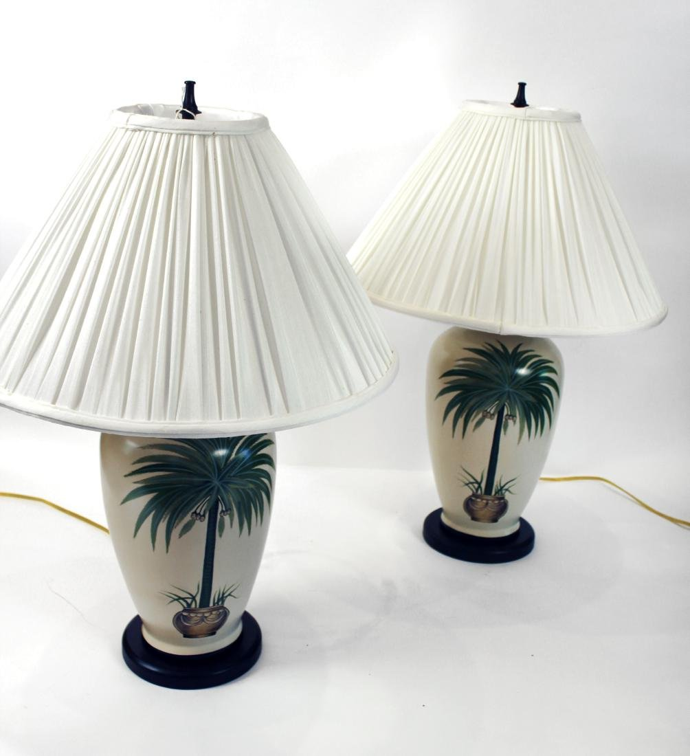 Pair of Palm Tree Decorated Lamps