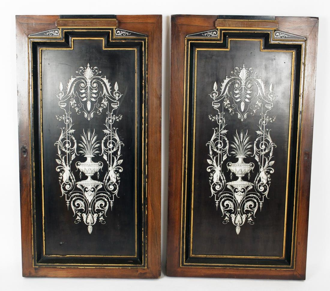Pair of 19th Century Mother of Pearl Inlaid Cabinet