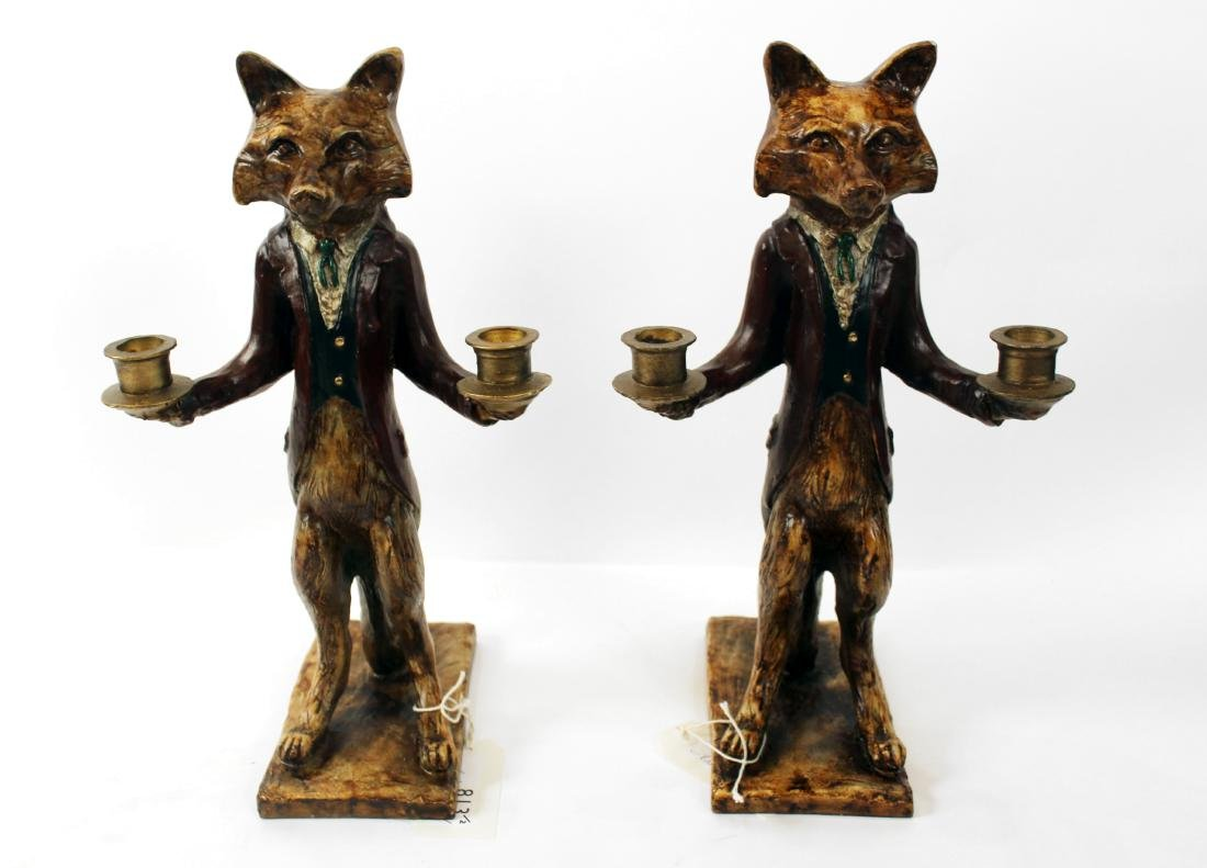 Pair of Fox Double Candleholders