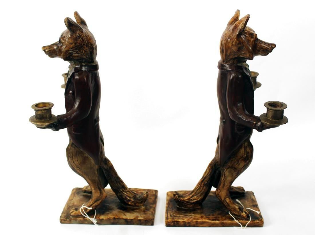 Pair of Fox Double Candleholders - 2