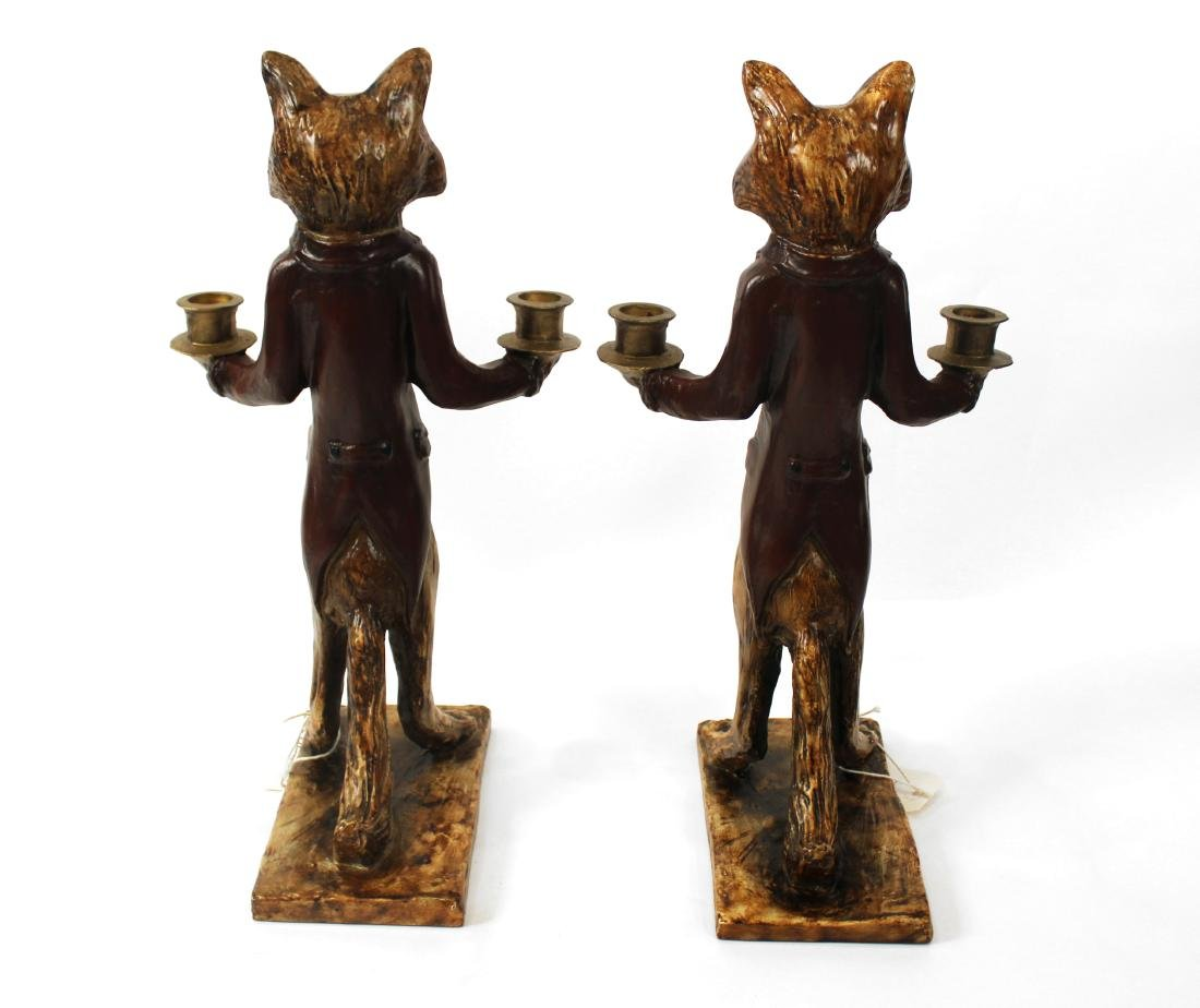Pair of Fox Double Candleholders - 3