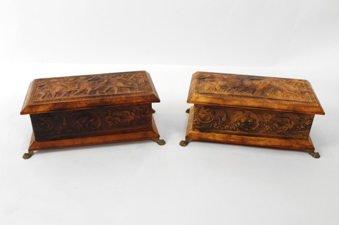 Pair Leather Covered Trinket Boxes