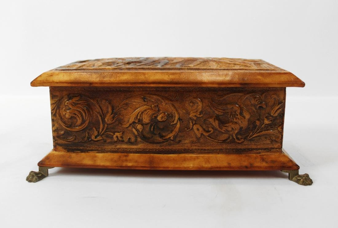 Pair Leather Covered Trinket Boxes - 2