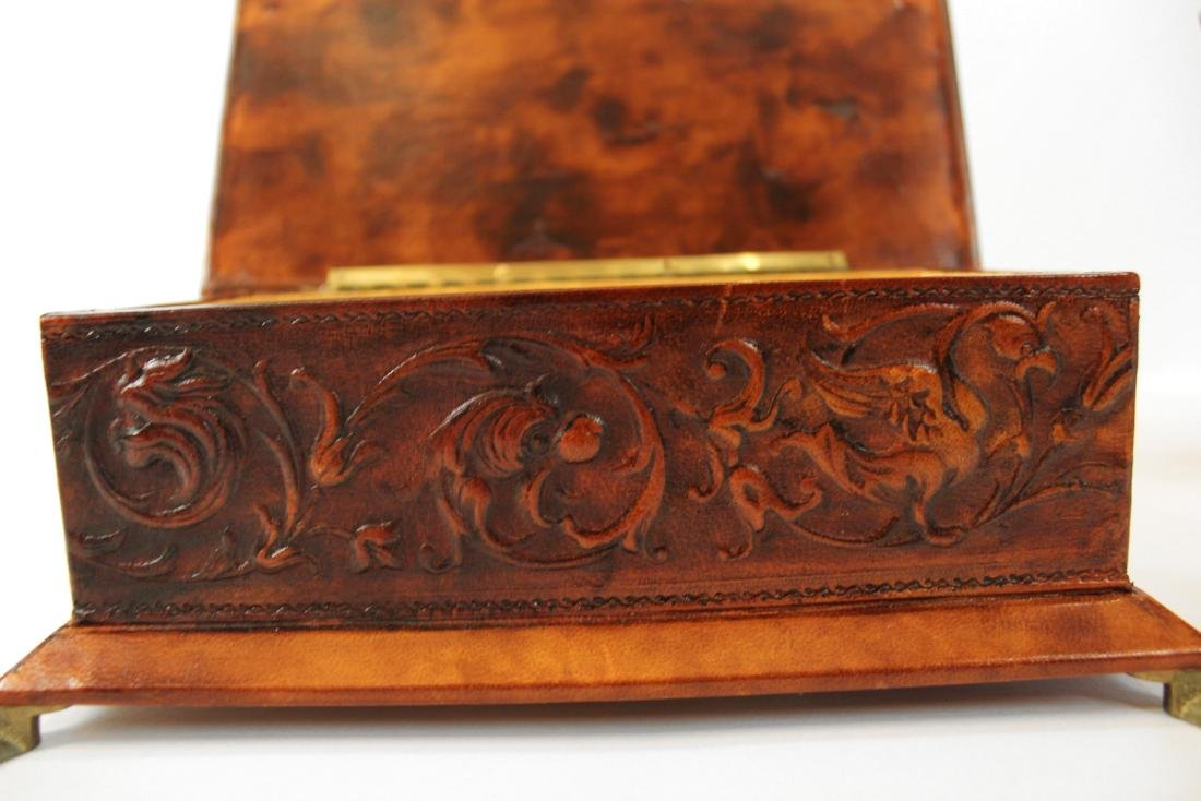 Pair Leather Covered Trinket Boxes - 4