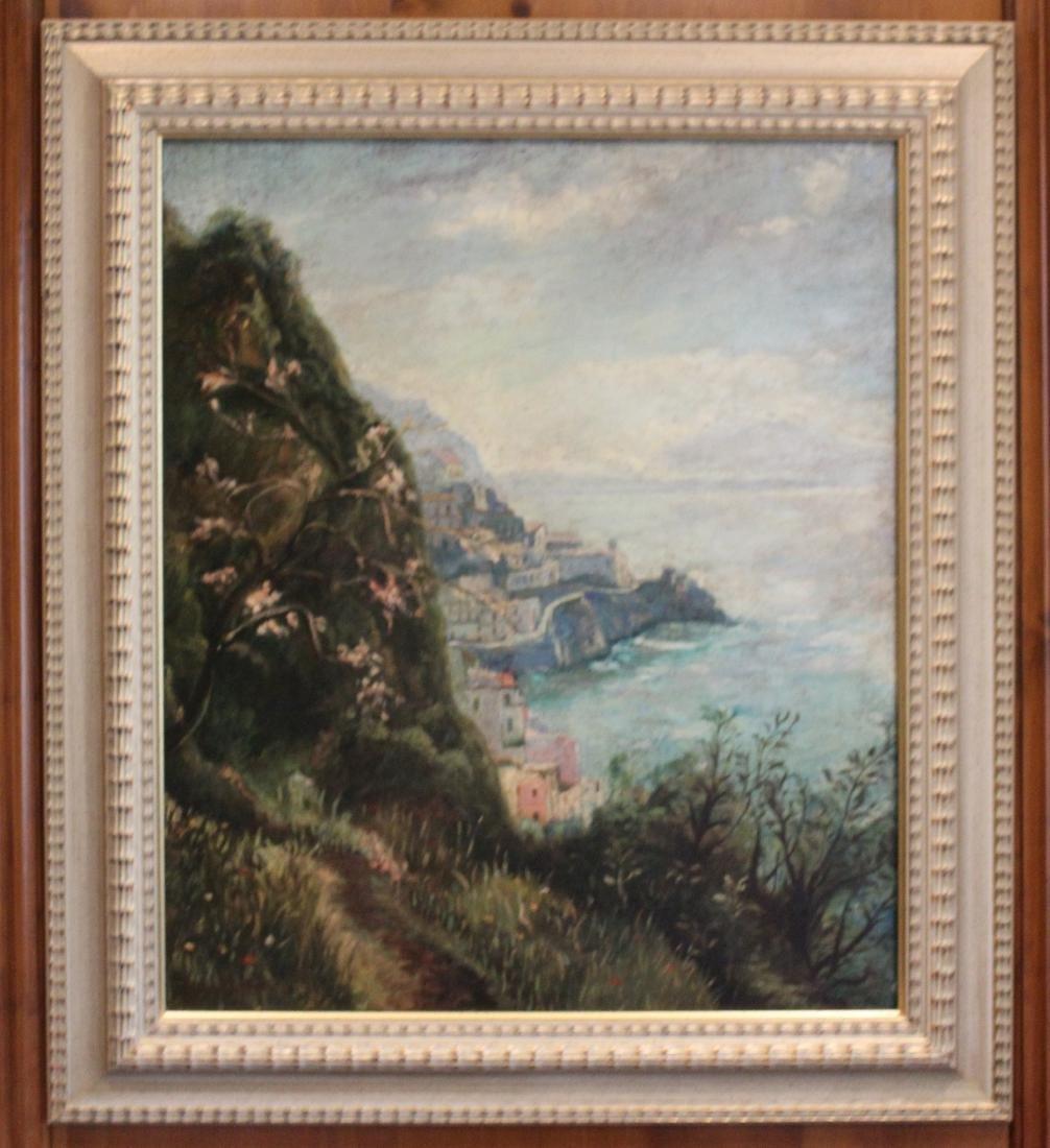 Jonin Estraon, Oil. Harbor Scene.