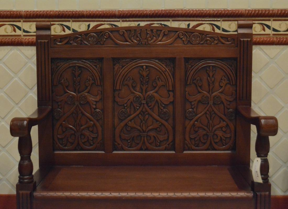 Jacobean Style Alderwood Bench - 2