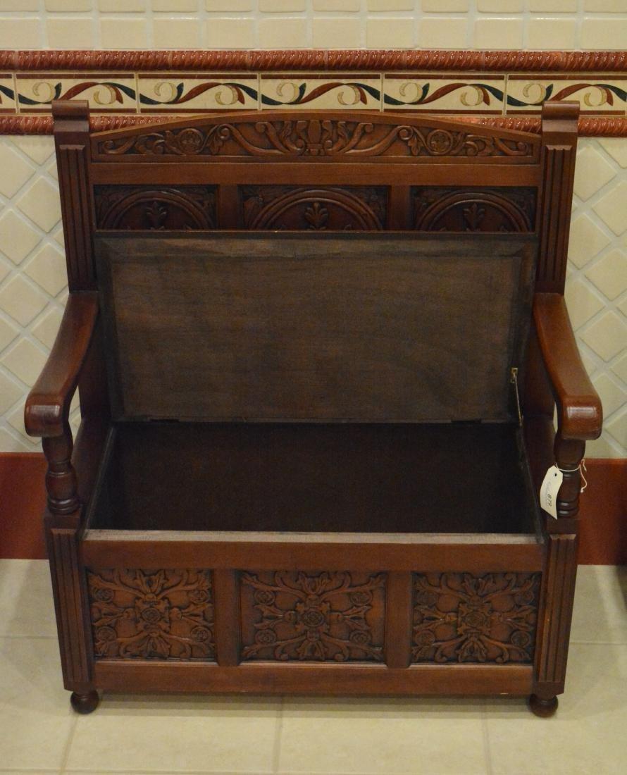 Jacobean Style Alderwood Bench - 3