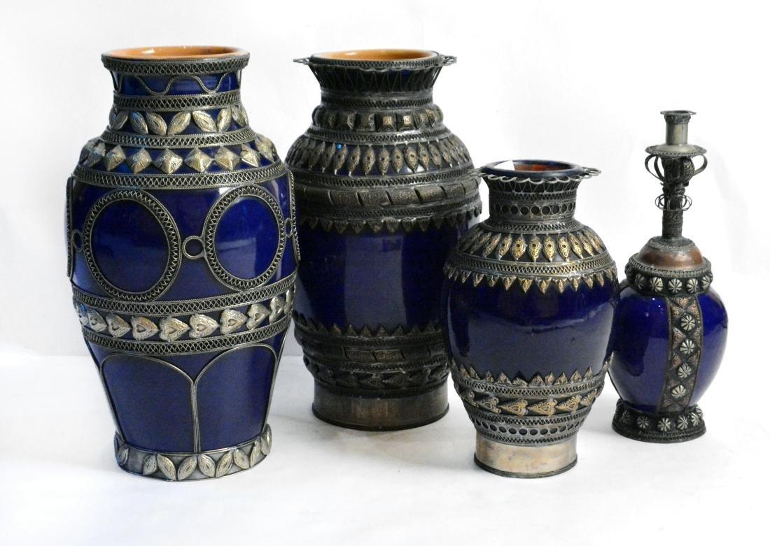 Cobalt Blue Moroccan Vases (4)