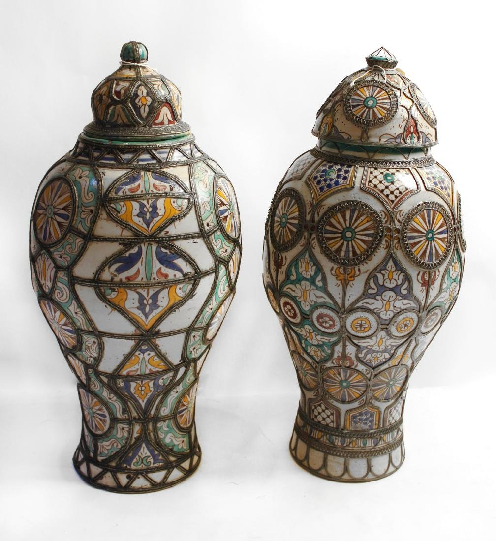 Moroccan Covered Pottery Jars