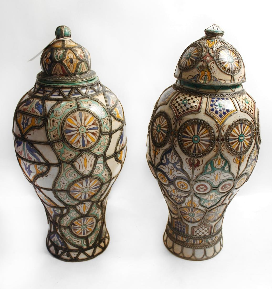 Moroccan Covered Pottery Jars - 2