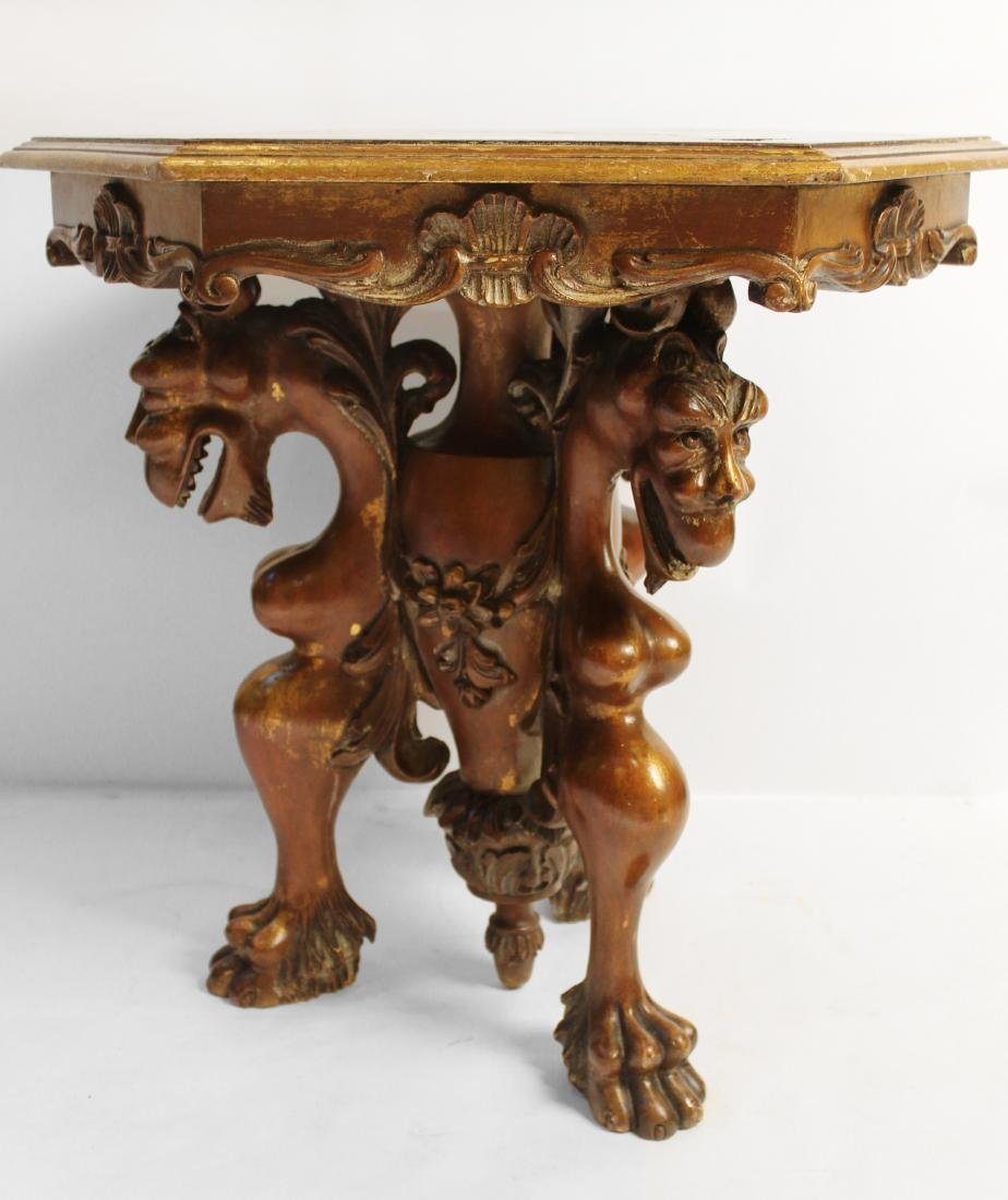 Burled Walnut Hexagonal Gargoyle Table