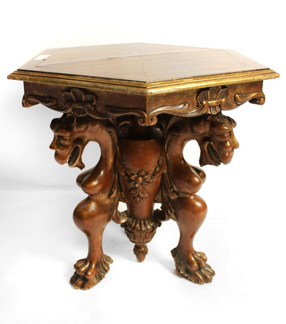 Burled Walnut Hexagonal Gargoyle Table - 2