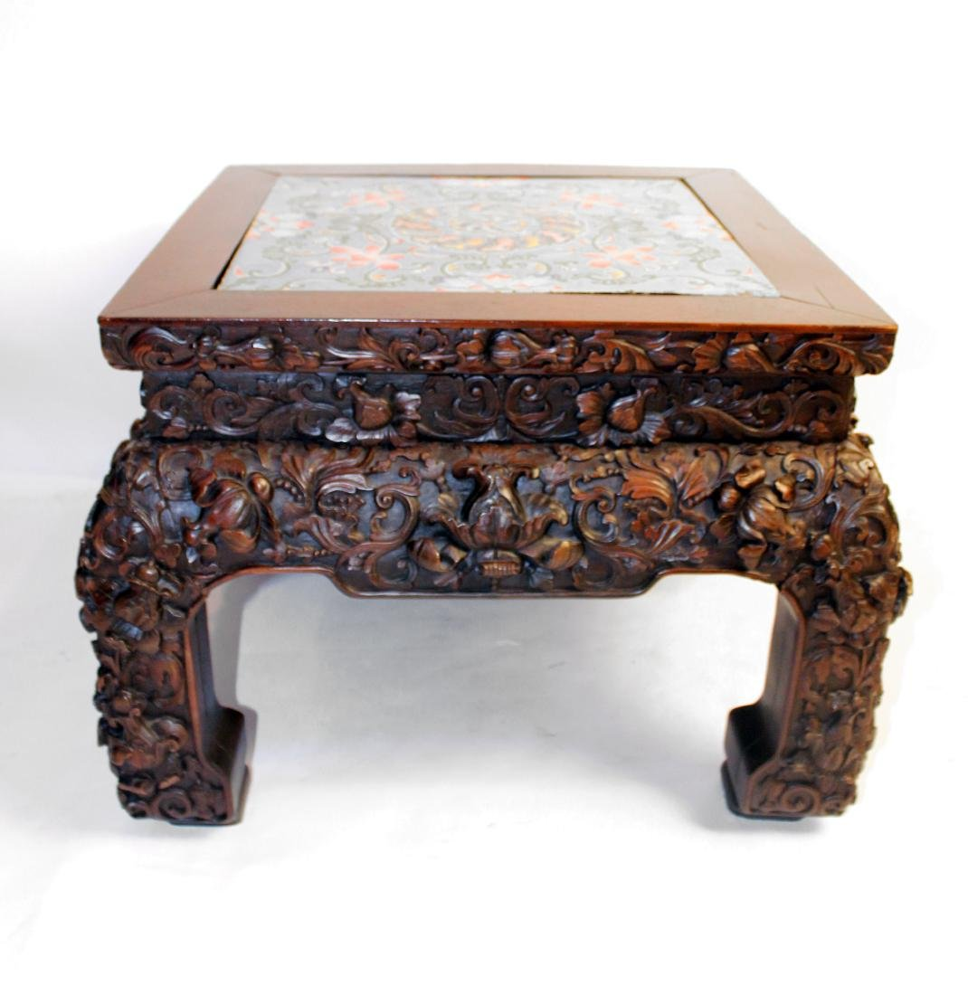 Oriental Carved Table Ceramic Top