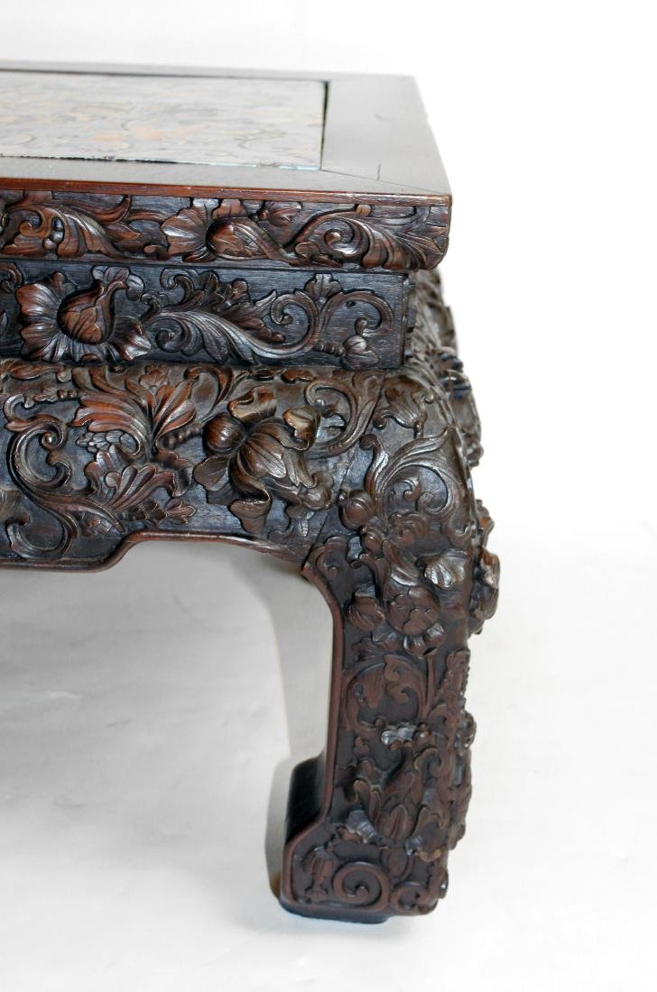 Oriental Carved Table Ceramic Top - 2