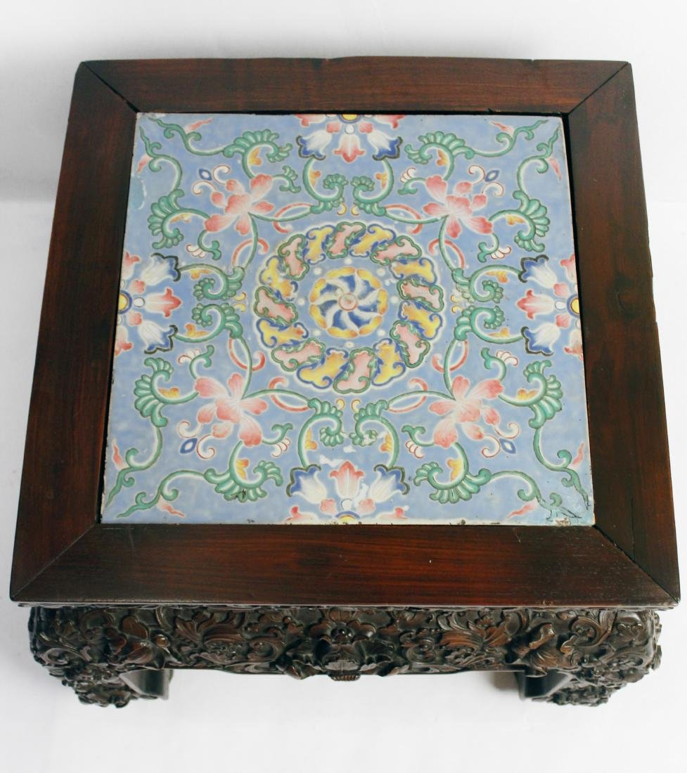 Oriental Carved Table Ceramic Top - 3