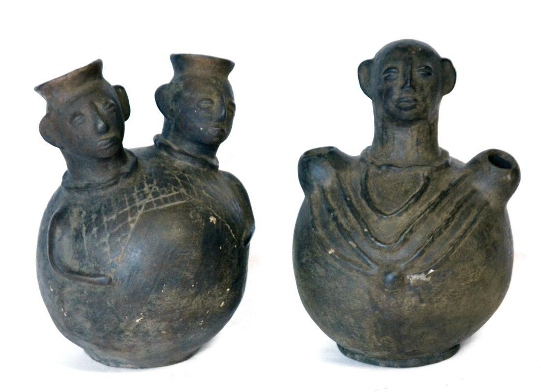 Stoneware African Figural Water Jars (2)